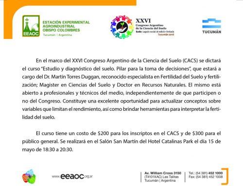 """EEAOC: Curso """"Estudio y diagnóstico del suelo"""""""
