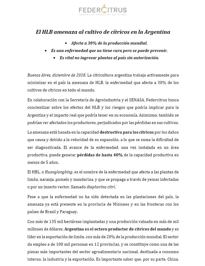 El HLB amenaza al cultivo de cítricos en la Argentina