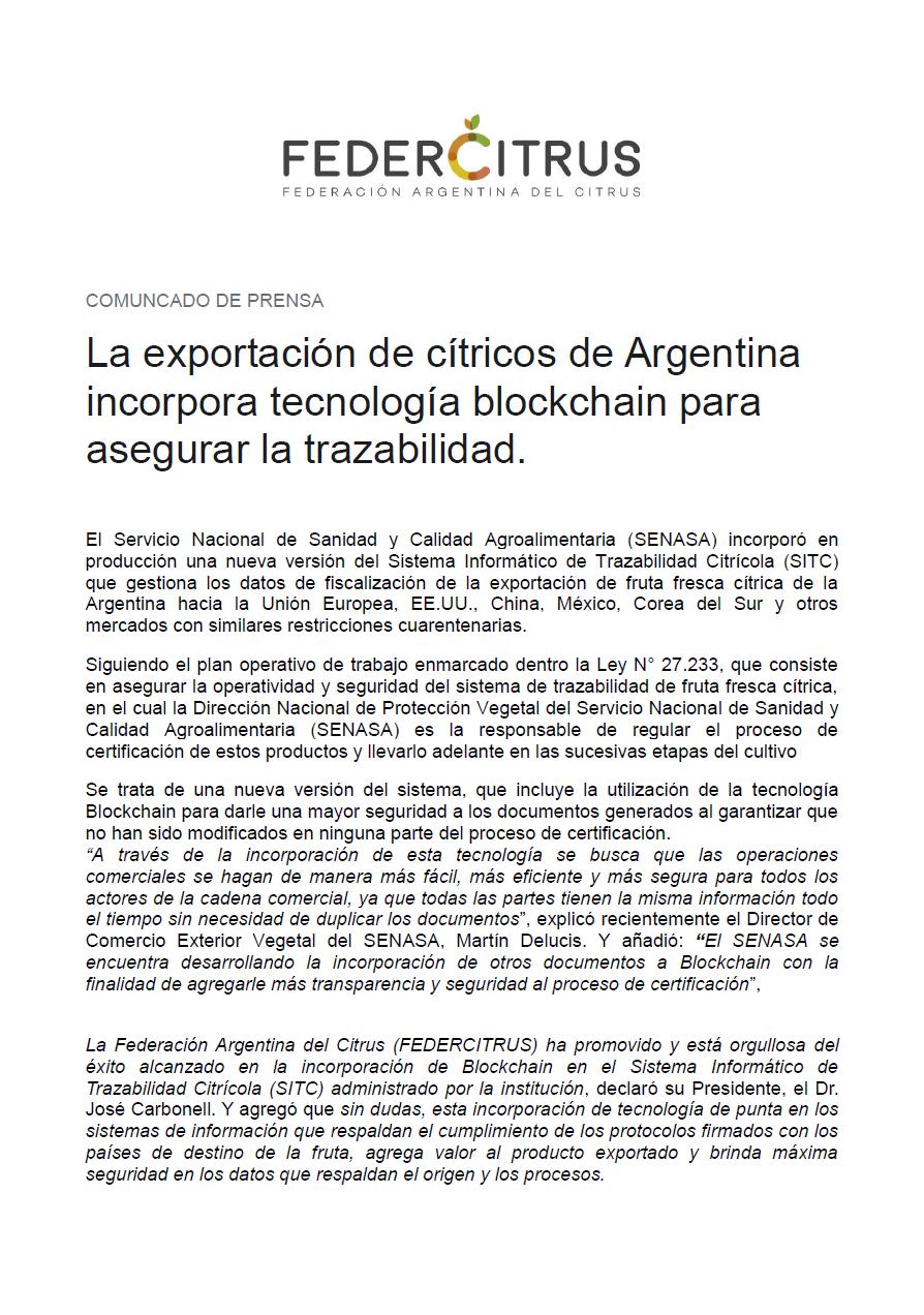 La exportación de cítricos de Argentina incorpora tecnología blockchain para asegurar la trazabilidad