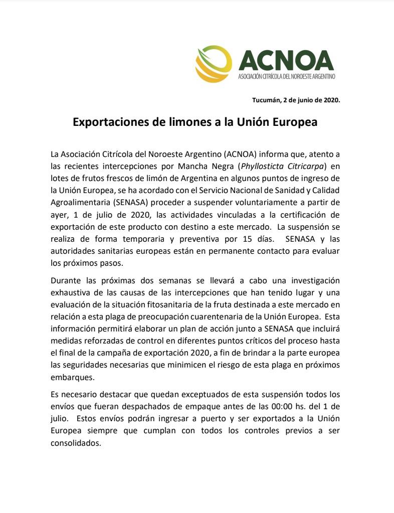 Exportaciones de Limones a la UE