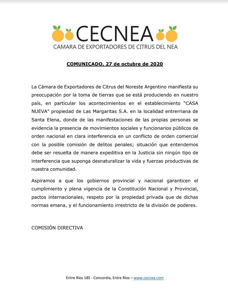 CECNEA Comunicado